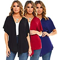 Isaac Liev 4-Pack Womens Short Sleeve Kimono Loose Open Front Cardigans