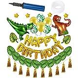 29 ピースグリーンパーティーデコレーション、野生の一匹の動物「恐竜」形風船パーティーデコレーションスーツ