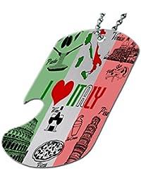 I Love Italy – ボトルOpener犬タグネックレス