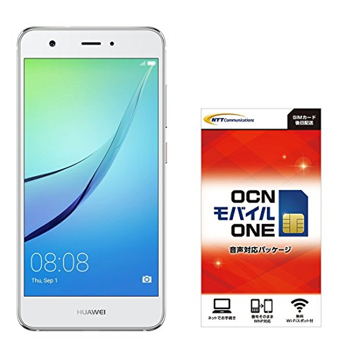Huwei 5.0型 nova SIMフリースマートフォン ミスティックシルバーOCN モバイル ONE 音声通話SIMカード