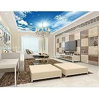 Lcymt カスタム3D立体スカイシーリングの壁紙ブルースカイ3Dシーリング壁画3Dの壁紙リビングルーム3Dシーリングの豪華な壁紙-150X120Cm