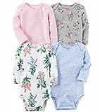カーターズ Carter's 長袖ボディースーツ4枚セット 女の子 フラワーガーデン (24months(83~86cm)) [並行輸入品]