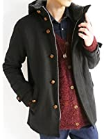 (モノマート) MONO-MART フルボリュームネック 裏ボア ウール コート 起毛 暖かい 真冬 クルミ釦 ZIP メンズ