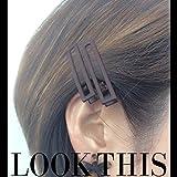 [ATK21] (2本セット) オープンスクエア マットカラー クリップピン ダッカール シンプル 無地 前髪 艶消し レディース ヘアアクセサリー (ブラウン)