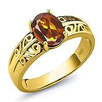 Gem Stone King 1.1カラット 天然 マデイラシトリン (オレンジレッド) シルバー925 イエローゴールドコーティング 指輪 リング
