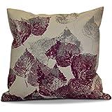 E byデザイン16 x 16インチ、Fall思い出、花柄プリント枕、パープル