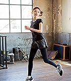 ヨガウェア Acew(アクエ) ハートの刺繍がカワイイ レディース ランニングウェア ロングタイツ ショートパンツ セット 吸汗速乾 レギンス ヨガウェア フィットネス ダンス トレーニングウェア