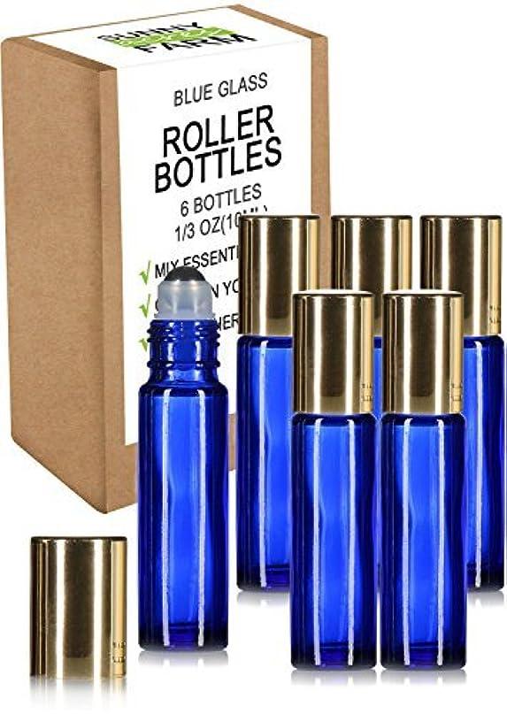 子豚不安定マークされたRioa 10ml(1/3oz) Cobalt Blue Glass Roller Bottles With Stainless Steel Roller Ball for Essential Oil - Include...
