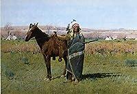 手描き-キャンバスの油絵 - Chief Spotted Tail west Indian native Americans Henry Farny 芸術 作品 洋画 ウォールアートデコレーション -サイズ18