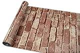 【誰でも簡単DIY壁紙シール】 北欧 レンガ調 ウォールステッカー かんたん貼付シールタイプ 45cm×10m 防水 (ブラウン)