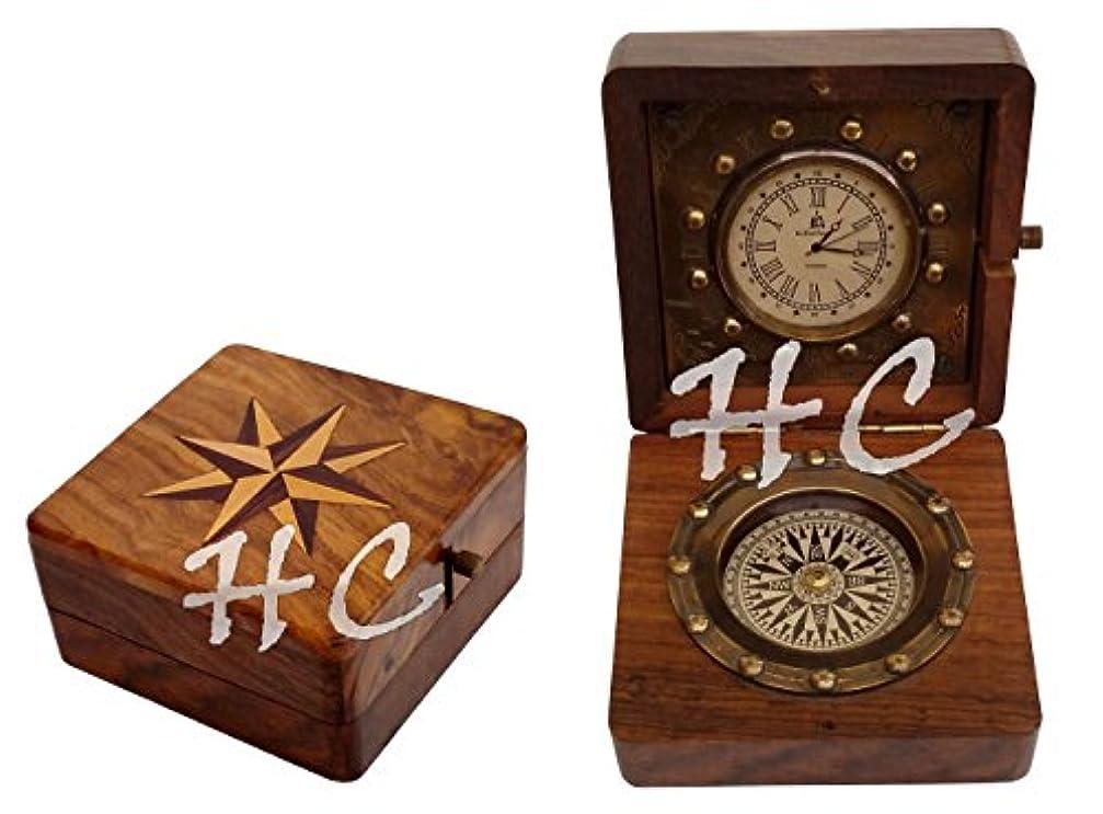 口スピーカー間欠アンティークポケット時計コンパスMarine航海デスククロック真鍮製テーブル装飾