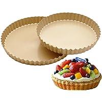 ピザBakeware、sacow 8 / 10インチラウンドピザパントレイカーボンスチールパンNonstickオーブンピザプレート B ゴールド