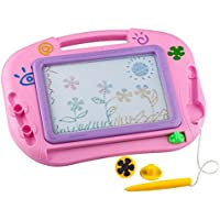 Buyus [Travel Size] Color Magnetic Drawing Board for Kids/Toddlers/Babies with 2 Stamps and 1 Pen - Also Named Mini Imaginarium Magic Magical Doodle/Scribble/Writing/Draft/Sketch Tablet Pad (Pink) [並行輸入品]