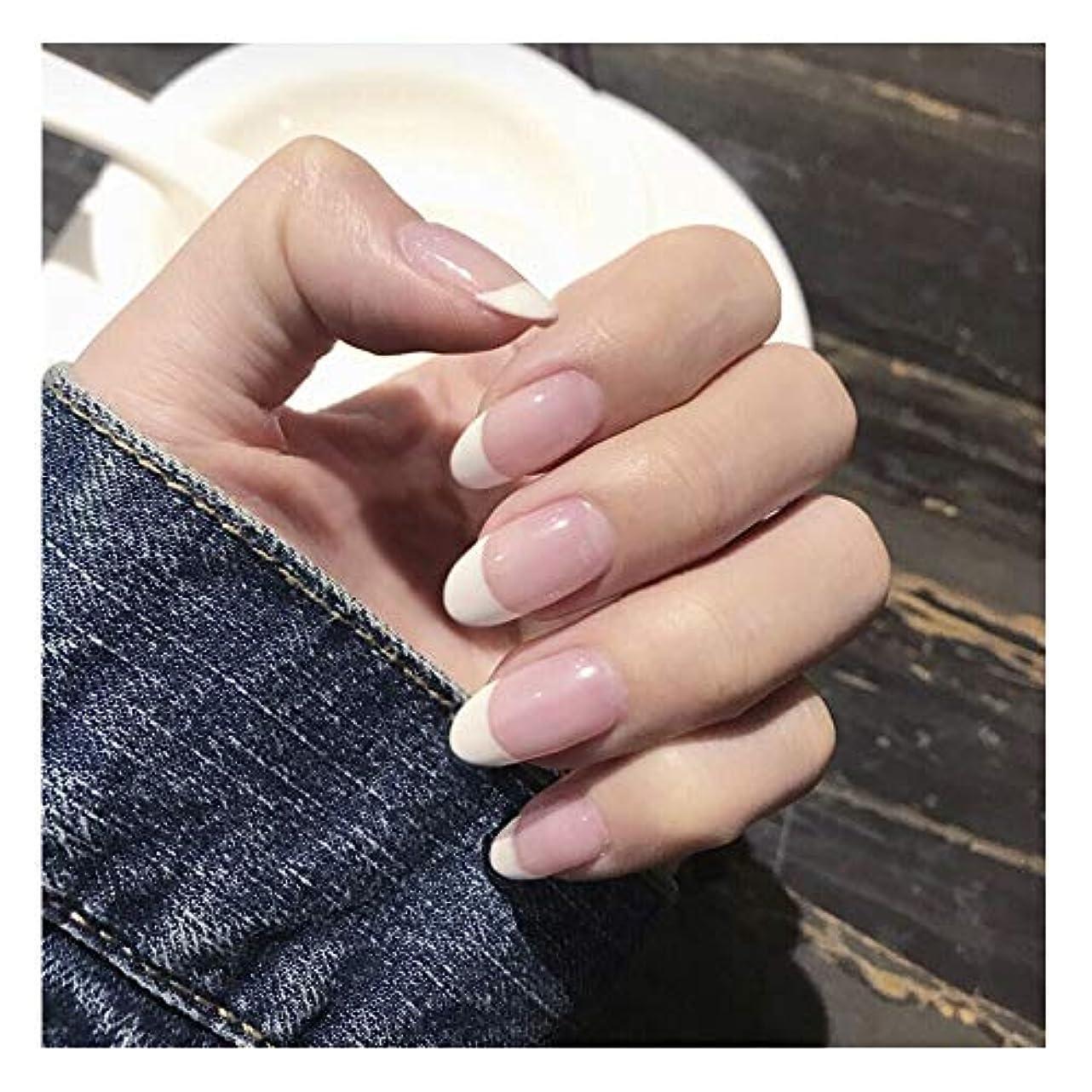 乳白色帽子優れたHOHYLLYA 透明ピンク+ホワイト下部偽爪ロングネイルズグルー完成ネイル偽爪を指摘しました (色 : 24 pieces)