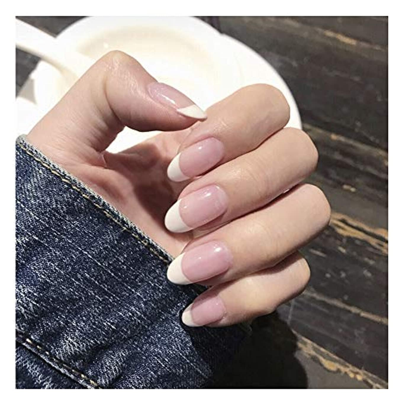 り受信女性HOHYLLYA 透明ピンク+ホワイト下部偽爪ロングネイルズグルー完成ネイル偽爪を指摘しました (色 : 24 pieces)