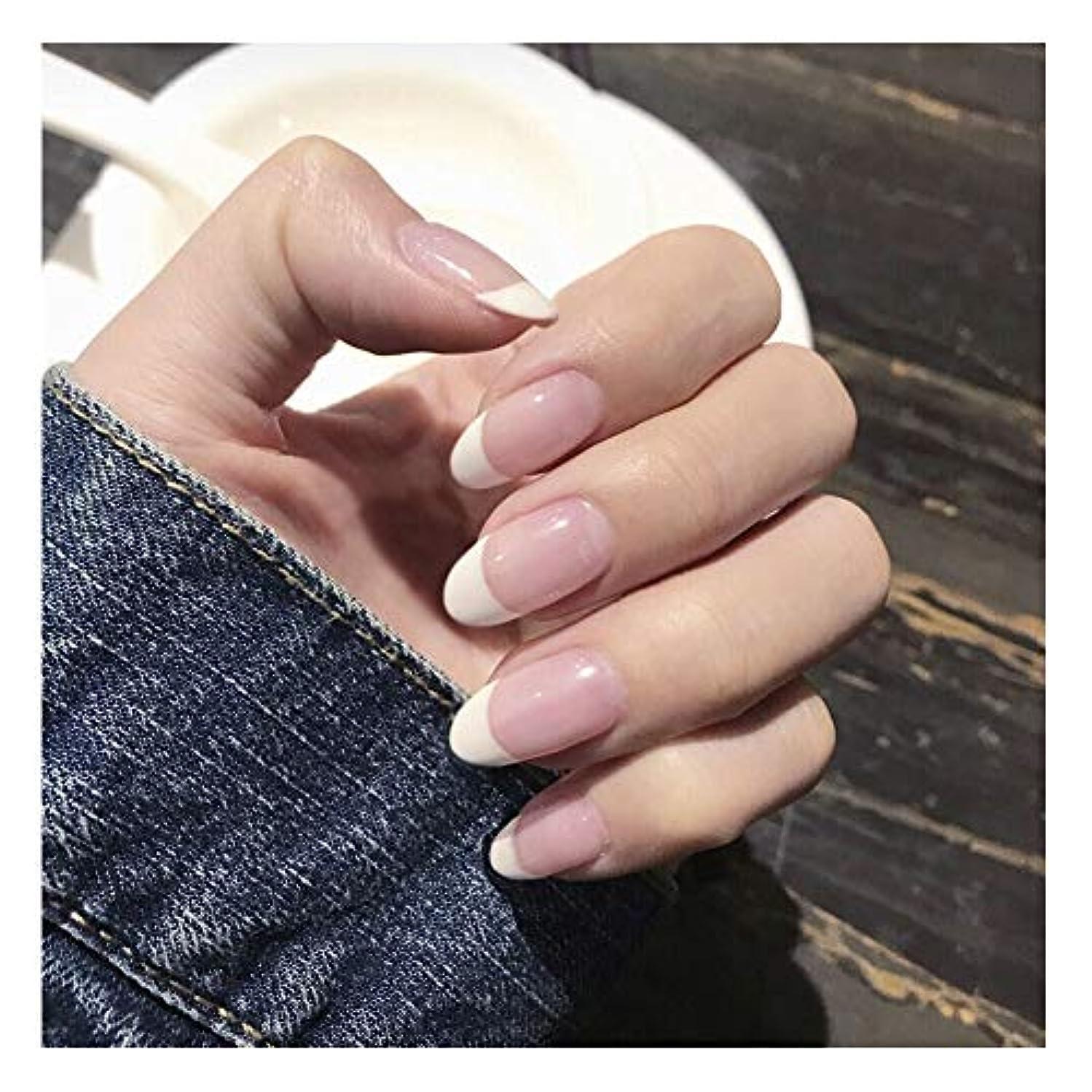 従者魅力的であることへのアピール入力HOHYLLYA 透明ピンク+ホワイト下部偽爪ロングネイルズグルー完成ネイル偽爪を指摘しました (色 : 24 pieces)