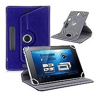 RaiFu タブレットカバー 手帳型 万能 360度回転 4つのフック レザー タブレット保護ケース タブレットスタンド 卓上 シンプル  濃紺 9インチ