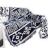Unigarden.Ju 欧米風 田舎風 マルチカバー 北欧 柄 両面使える フリンジ 綿製品のブランケット 多機能 (220X250, ブルー/幾何模様1)