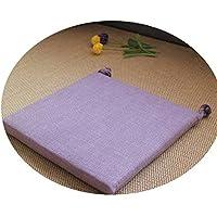 リネンオフィスの畳のクッションマット夏の通気性のシンプルな家庭食卓のクッション,スクエア[取り外し]ライトパープル,直径30*30*厚4cm