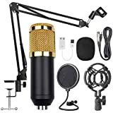 USB Streaming Podcast PC Microphone Gold Black, SUDOTACK professional 96KHZ/24Bit Studio Cardioid Condenser Mic Kit with sound card Boom Arm Shock Mount Pop Filter
