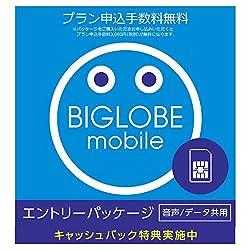 ビッグローブ BIGLOBEモバイル エントリーパッケージ 10,800円キャッシュバック[音声通話3ギガ以上] SIMカード申し込み用(ドコモ回線) データ通信/音声通話 EP-1