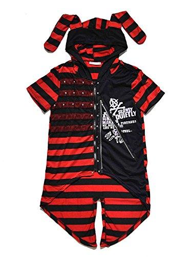 (エーシーディーシーラグ) ACDC RAG ACウサ半袖パーカー パンク Tシャツ (ブラック/レッド)