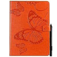 JDDR タブレットケース、 蝶プロの花柄PUレザーウォレットスタンドタブレットケースiPad Pro 11インチ用(2018年リリース) (色 : オレンジ)