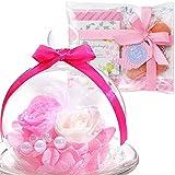 TEATSIGHT フラワー ギフト 花とスイーツ プリザーブドフラワー+クッキー+紅茶 セットバラ 白×ピンク