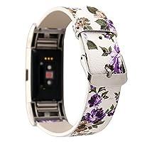 For Fitbit Charge 2レザーバンド、ginamartレディースガールズ腕時計リストバンドマイクロファイバーレザー交換バンドストラップブレスレットwithフローラルパターン