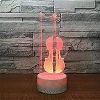 Dtcrzj Hi 導かれたバイオリン3Dの卓上スタンドUsb 7色を変える楽器夜ライト子供睡眠照明Tr