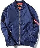 (ヌノネット) nunonette MA-1 ジャケット メンズ ジャンパー 羽織 シンプル ネイビー 紺 通学 防風 (ブルー 2XL)