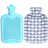 1.8 Liters Lovely Rubber Hot Water Bottle With Blue Dot Pattern Knit Cover, Blue