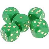 B Baosity  5個 木製 サイコロ ダイス MTG RPGゲーム用 全6色 - 緑