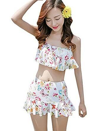(激情女郎)JIQINGNVLANG レディース水着 花柄 フリル セパレート ワイヤー ビキニ スカート水着 2点セット XL