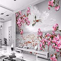 Wuyyii 大カスタム壁紙レトロな背景花鳥写真テレビソファリビングルームの寝室の背景壁画-150X120Cm