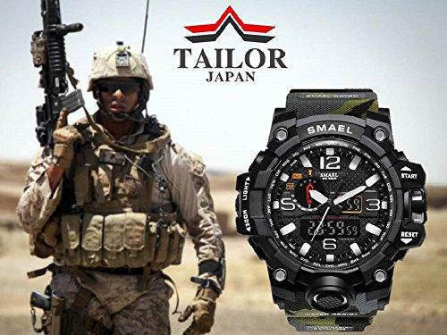 【TAILOR JAPAN】メンズ ミリタリー腕時計 メンズウォッチ 防水 デュアルコア アナログデジタル 軍仕様モデル SMAEL アウトドア スポーツ (迷彩)