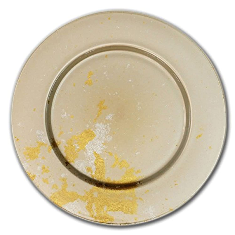 CtoC JAPAN Select 大皿 漆ガラス食器 アンダープレート M(2-A-011) ホワイト (約)Φ32.0cm x H1.8cm MAJO 食器 硝子 漆 金箔 NKF 2-A-011