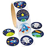 200 Outer Space Stickers 2 Rolls of 100 Each - Rocket Astronaut Planets Stars Classroom Teacher Giveaways Doctor Dentist