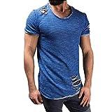 Hanaturu  tシャツ メンズ おしゃれ 半袖 無地 人気 おもしろ 2017 ダメージ加工 穴あき 通気性 速乾 メンズTシャツ メンズ 着心地いい ストリート系 友達彼氏 プレゼント S-4L グレー ブルー ホットピンク パープル4色選べ