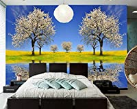 Yosot 春木川の反射の自然の写真の壁紙開花、リビングルームのテレビのソファーの壁レストランキッズ・ルーム-400cmx280cm