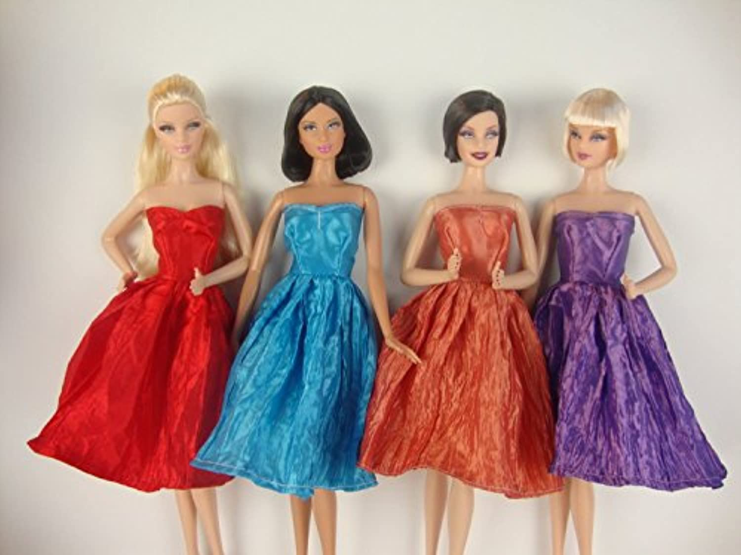 Set of 4 Beautiful Knee Length Dresses in Red, Purple, Blue and Rust Color Made to Fit the Barbie Doll by Olivia's Doll Closet [並行輸入品]