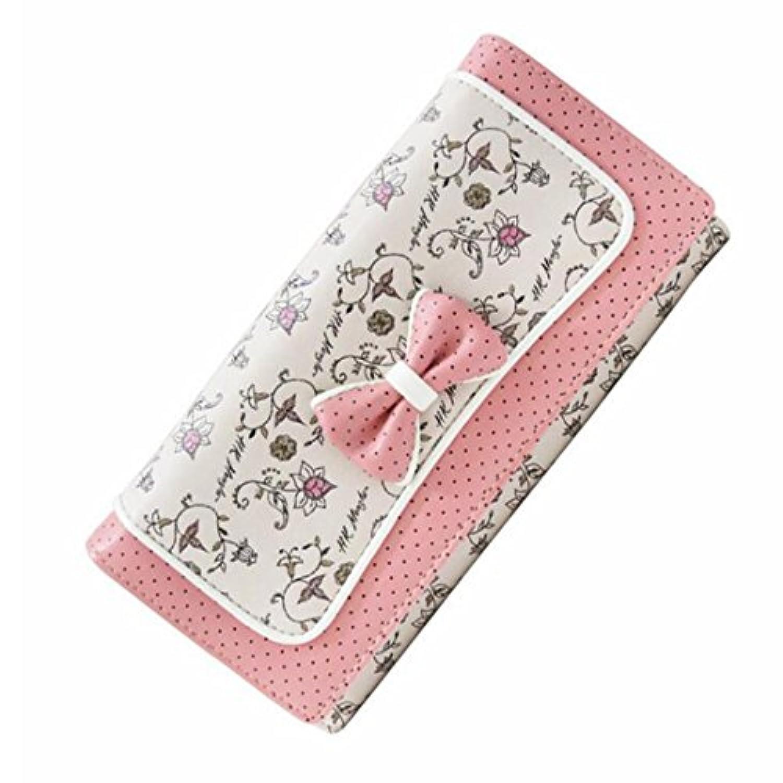 Exonlyone 女性の長い二重RFIDの財布レザーカードホルダークラッチ財布バックルボウタイの財布