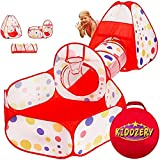 Kiddzery 3pc Kids Play Tent Crawl Tunnel and Ball Pit with Basketball Hoop – Durable Pop Up Playhouse Tent for Boys, Girls, B