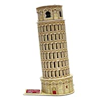 Creative 3D Puzzle Paper Model Leaning Tower of Pisa DIY Fun & Educational Toys World Great Architecture Series, 16 Pcs