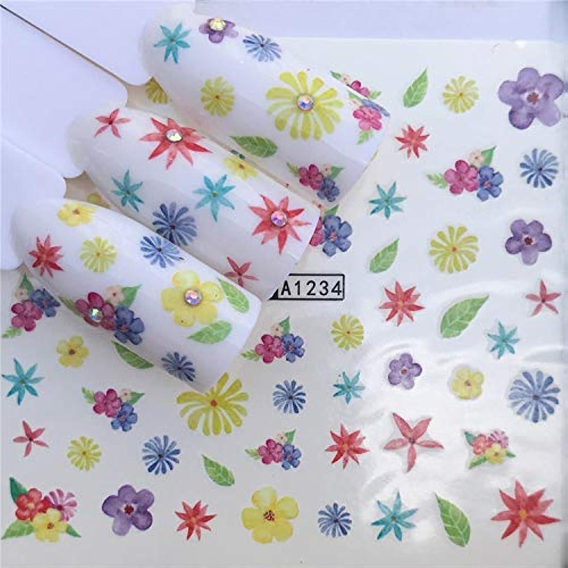 手足ビューティーケア 3個ネイルステッカーセットデカール水転写スライダーネイルアートデコレーション、色:YZWA 1234