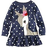 hinatera Little Girls Long Sleeve Princess Shirt Dress Deer Polka Dots Clothes