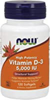 Now Foods Vitamin D-3, 5,000 IU, Softgels, 120ct