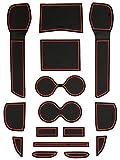 ニッサン T32 エクストレイル 専用設計 ゴム ラバー ポケットマット レッド 15点セット 傷 異音防止