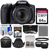 Canon PowerShot sx530HS Wi - Fiデジタルカメラwith 64GBカード+ケース+バッテリー+ 3フィルタ+ Tele/ワイドレンズキット