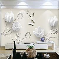 KAHSFA 3D壁紙 カスタム壁画壁紙現代3Dチューリップ蝶花壁壁画防水自己接着リビングルームの壁のペーパー家の装飾